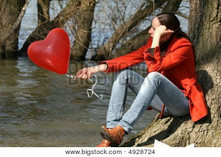 Sad Woman With Balloon
