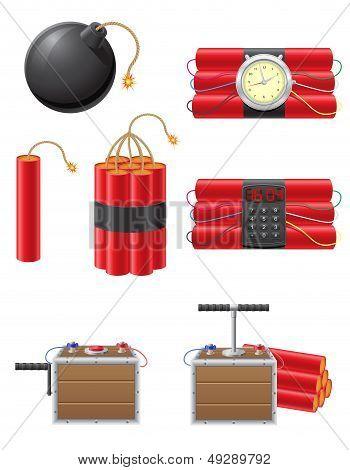 Set Icons Detonating Fuse And Dynamite Vector Illustration