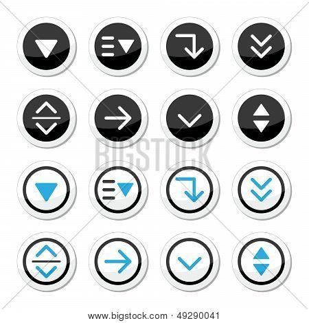Menu drop down round icons set