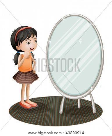 Abbildung eines Mädchens vor dem Spiegel auf weißem Hintergrund