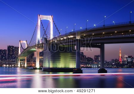 Rainbow Bridge With Tokyo Tower
