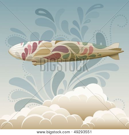 Zeppelin retrô, eps10 vector