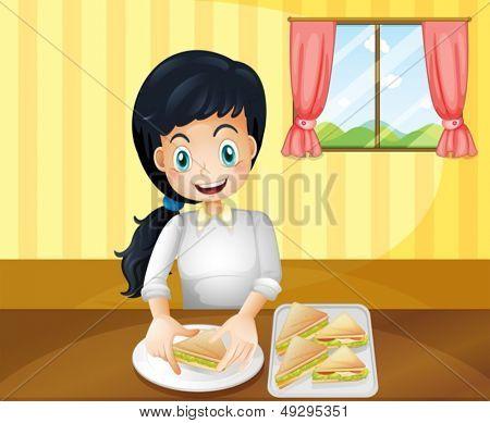 Illustration of a happy woman preparing sandwiches