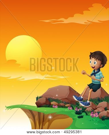 Illustration of a happy boy sitting at the big rock near the cliff