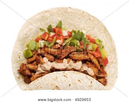 Tortilla With Vegetables And Chicken Meat