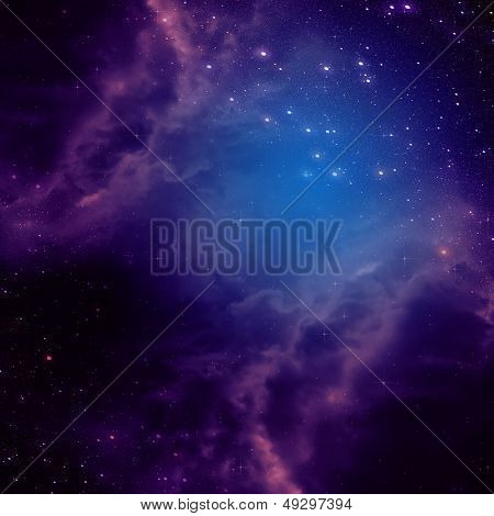 Space Background With Purple Clouds