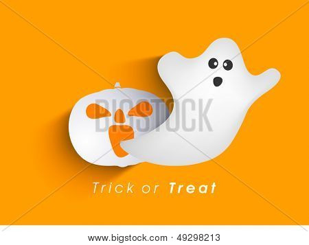 Classic character of ghost and pumpkin on orange background, Can be use as poster, flyer or banner for Trick or Treat Halloween Party.