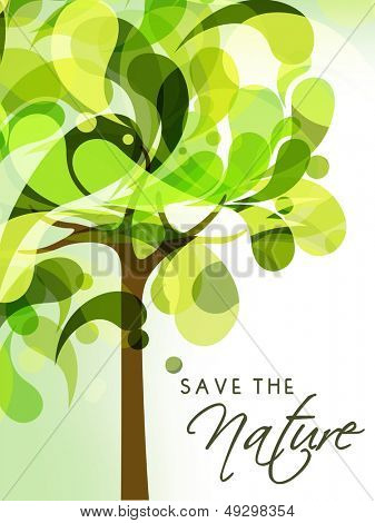 Save the Nature concept with green tree.