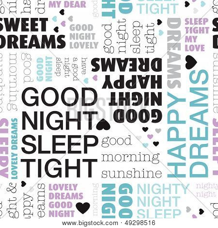 Seamless bedroom sleep good night dream tight background pattern in vector