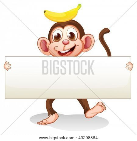 illustration of an empty signboard with a monkey at the back on a white background