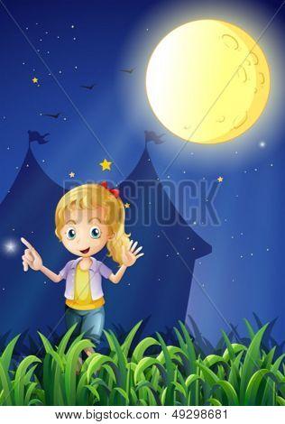 Ilustración de una chica bajo la brillante luna llena
