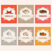 image of cayenne pepper  - vegetables set labels - JPG