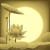stock photo of mid autumn  - Oriental Mid Autumn Festival Lotus Flower Wallpaper - JPG