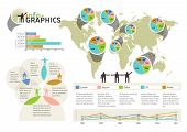 Set Of Infographic Elements. Visual Statistic Information On World Map. Eps 10 Vector, Transparencie