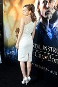 LOS ANGELES - AUG 12: Lily Collins at the premiere of Screen Gems & Constantin Films' 'The Mortal In