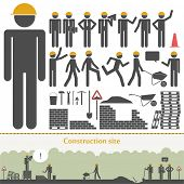 image of bricklayer  - Construction vector set  - JPG