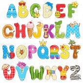 Colorful children alphabet spelled out with different fun cartoon.