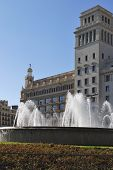 Fountains And Buildings In Placa De Catalunya. Barcelona. Spain poster
