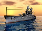 stock photo of battleship  - Computer generated 3D illustration with the American Battleship USS Arizona from the second world war - JPG