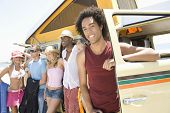 foto of campervan  - Group of multiethnic young people with campervan - JPG