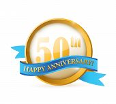 pic of 50th  - 50th anniversary seal and ribbon illustration design over white - JPG
