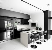 foto of tapping  - luxury and very clean empty european kitchen - JPG
