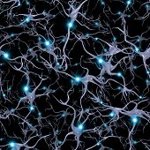 stock photo of neurology  - Seamlessly Repeatable Brain Cells Pattern - JPG