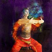 foto of qi  - Woman in Asian Qigong influenced pose in a rust cylinder - JPG