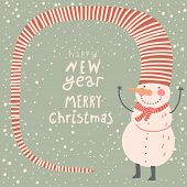 picture of snowman  - Merry Christmas and a Happy New Year cartoon card in vector - JPG