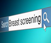 stock photo of mammography  - Illustration depicting a screen shot of an internet search bar containing a Breast Screening concept - JPG