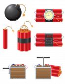 stock photo of time-bomb  - set icons detonating fuse and dynamite vector illustration isolated on white background - JPG