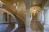 stock photo of hacienda  - View of corridor and staircase in modern house - JPG