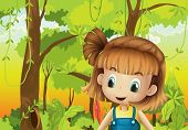 stock photo of hollow log  - Illustration of a cute little girl in the forest - JPG