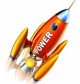 stock photo of reboot  - high resolution rendering of  a rocket with a power icon - JPG