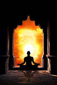 image of pranayama  - Yoga meditation in lotus pose by man silhouette in old temple arch at orange sunset sky background - JPG