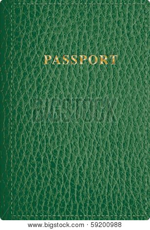 vector green leather passport cover