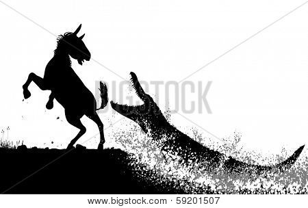 Editable vector silhouettes of a crocodile attacking a zebra or horse with figures as separate objects