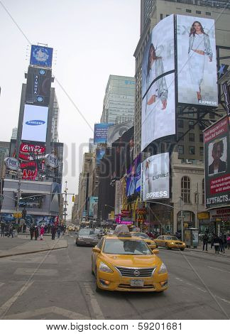 New York City taxi at the Times Square in Manhattan