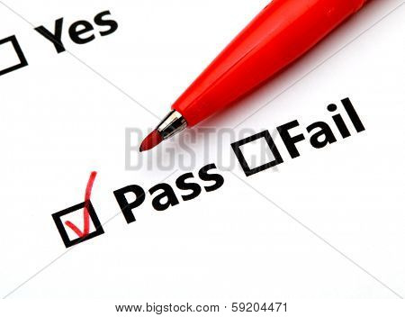 Pass or Fail checkbox