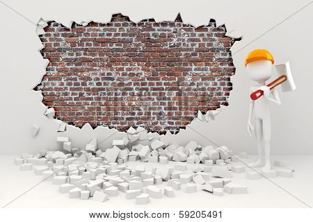 3d man demolishing a wall