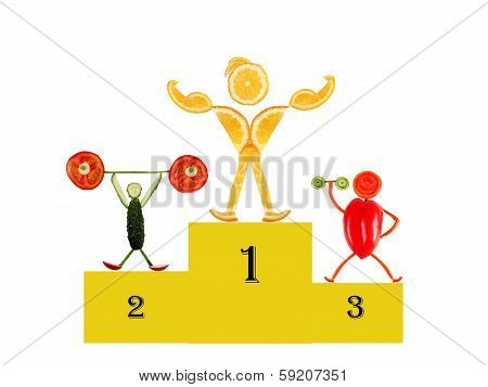 Healthy Eating. Little Funny People Made Of Vegetables And Fruits. On Victory Podium