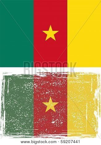 Cameroonian grunge flag. Vector