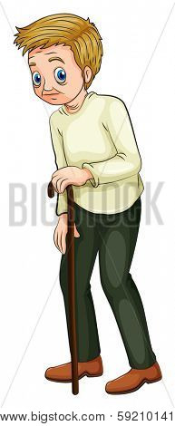 Illustration of an old man walking with a cane on a white background