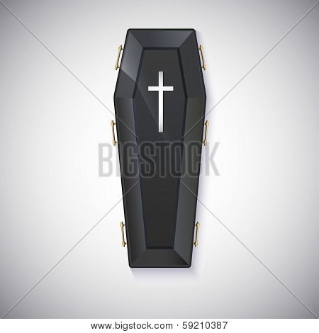 Elegant black coffin with glare and yellow handles