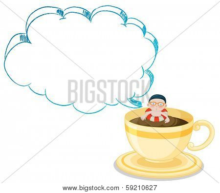 Illustration of a big cup full of choco drink with a boy swimming on a white background