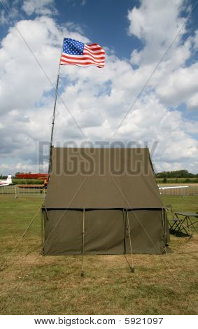 American Army Tent With National Flag