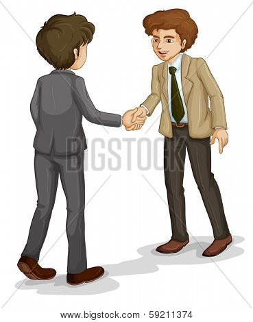 Illustration of the two businessmen shaking hands on a white background