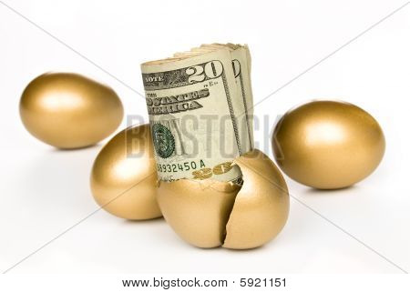 Hatched Golden Egg With Cash