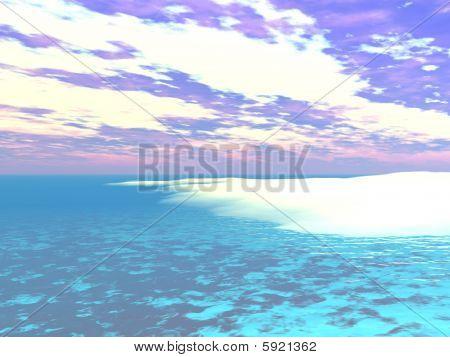 Caribbean Water's Edge - 3D Illustration