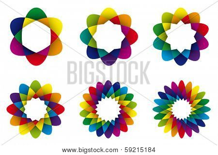 Geometric Rainbow Colored Abstract Flower Symbols. Collection of six rainbow colored geometric flower symbols with different numbers of petals.